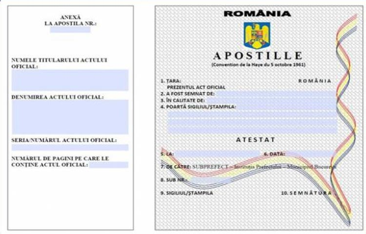 Certificato Apostille Romania